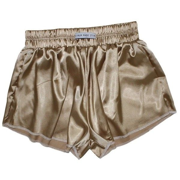 Vintage Gold High Waist Satin Shorts ($29) ❤ liked on Polyvore featuring shorts, bottoms, high-rise shorts, high-waisted shorts, high waisted shorts, highwaist shorts and gold shorts