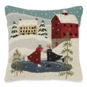 Village Skaters Hooked Wool Pillow