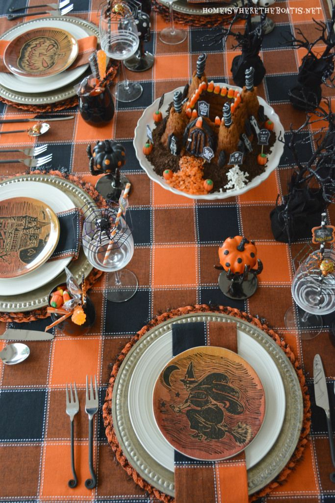 Haunted Castle Cake and Spooky table for a Happy Haunting   homeiswheretheboatis.net #Halloween #potterybarn