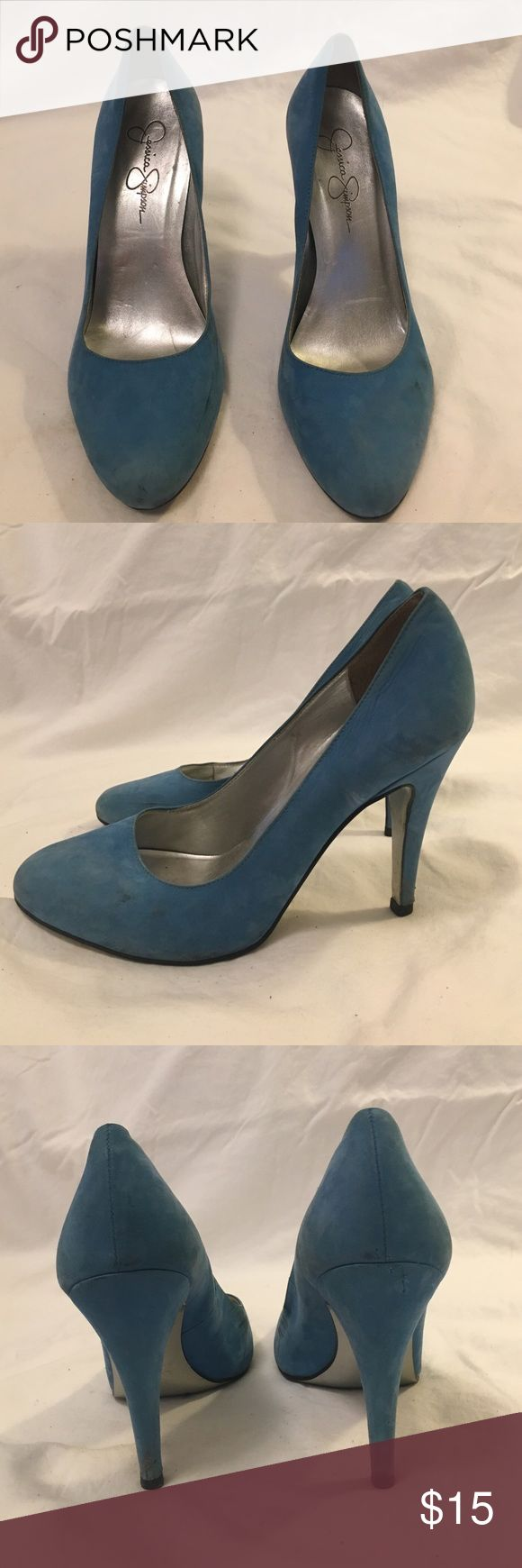 Jessica Simpson blue suede pumps size 7.5 Worn Jessica Simpson cyan blue suede round toe pump. Normal wear on them. Scuffs on sides. No box. Let me know if you have any questions. Happy to answer! No trades. Jessica Simpson Shoes Heels