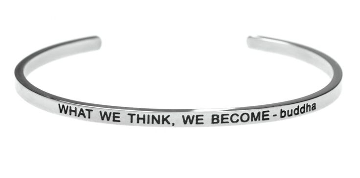 """""""What We Think, We Become - buddha"""" Inspirational Message Simple Stainless Steel Bracelet. Men and Women's Stainless Steel Classic Style Message Cuff Bracelet. """"WHAT WE THINK, WE BECOME - buddha"""" Inspirational Message Inscribed On Bracelet. At Just 1/8 Inch Wide This Simple Statement Bracelet is Very Easy To Wear. Makes A Perfect Gift for Birthday, Christmas, Anniversary or Any Occasion. Fits All Wrist Sizes! Can Be Opened Wider for Larger Wrists, Plus Can Also Fit Smaller Wrists... Just..."""