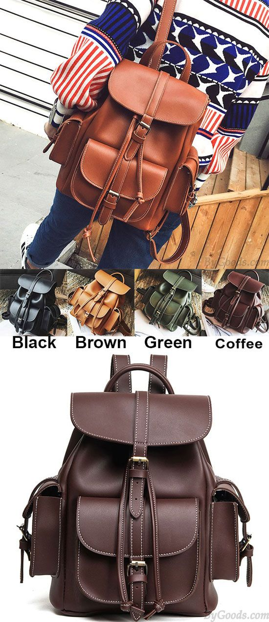 Leisure Brown Three Pockets PU Smooth Large School Backpacks for big sale! #school #Backpack #bag #brown #fashion #large #pu #Leisure