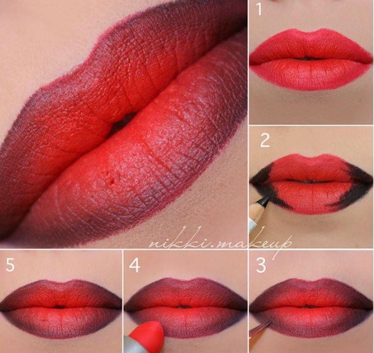 Ombre Lippen rot schwarz Farbverlauf Anleitung #be…