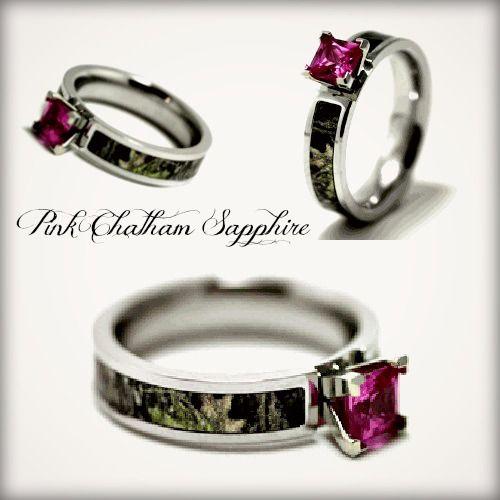 Realtree Wedding Rings: Pink Chatham Sapphire Camo