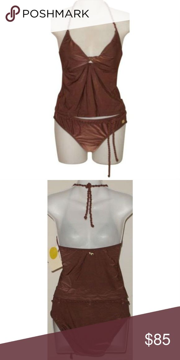 ST JOHN Brown Tankini Swimsuit Rope Trim 2 pc Tankini swimsuit from St John in cocoa brown nylon/spandex. Halter style top features a twited neckline and seaming under the bust, ties behind the neck. Lined at the bust. Matching bottoms have full back coverage and a rope belt. Gold logo tag, fully lined. Size 4. St. John Swim