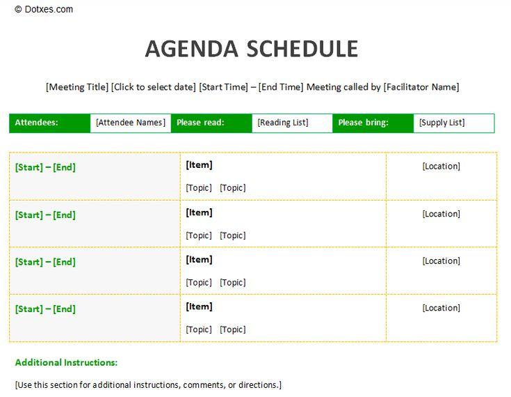 Meeting agenda schedule template to improve your meeting – Meeting Schedule Template