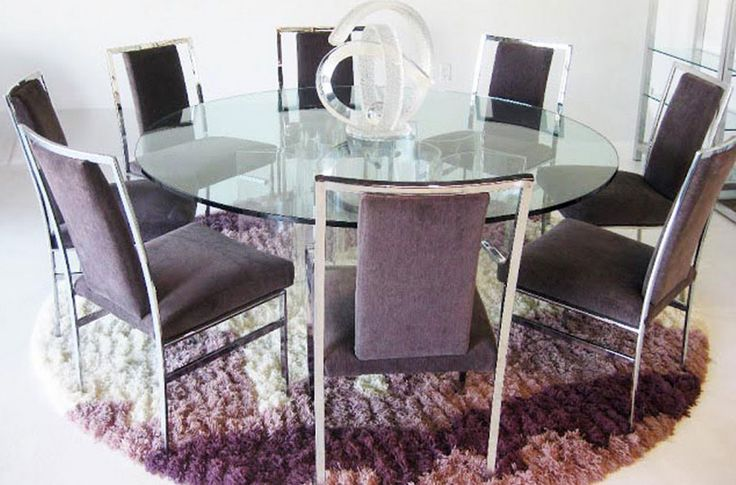 glass round dining table for 8