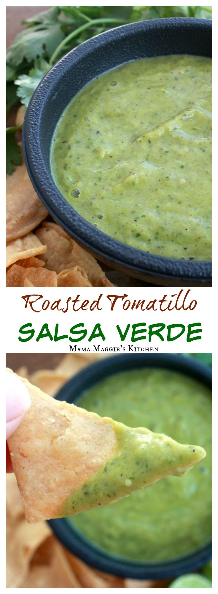 Roasted Tomatillo Salsa Verde is incredibly easy to make. Delicious and savory. Perfect with chips or as a topping for tacos. By Mama Maggie's Kitchen