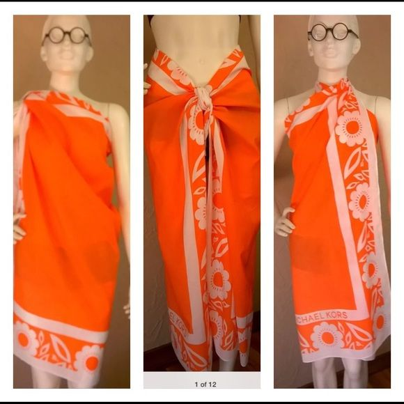 """Michael Kors Big Scarf Michael Kors """"Hawaii Island"""" Sarong/Wrap/Scarf  Condition:  pre-owned very good+  Size:  50"""" x 42"""" (approx.)  Color:  Orange & White This scarf can be worn MANY different ways, it's a great piece for travel, it can be a scarf, a wrap on a cool evening or a sarong at the beach Michael Kors Other"""