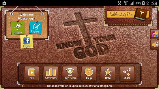 Bible study! Have you been looking to test your knowledge of the Bible? This Bible study app helps you!  With over 1000 unique questions and 7 gamemodes. This Bible study app lets you get to know God through His Word, and gain everlasting wisdom!   Each question has its own verse reference and hyperlink to its context!   Compete with others to become Today's Champion, or learn at your own pace through Divine Mode!  Test your Bible knowledge in Bible trivia with 1304 bible quiz questions!
