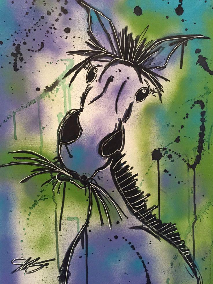 Cheval peinture enfant 18 x 24 sur toile à l'acrylique / Horse painting kid 18 x 24 on canvas de la boutique SVGCreations13 sur Etsy