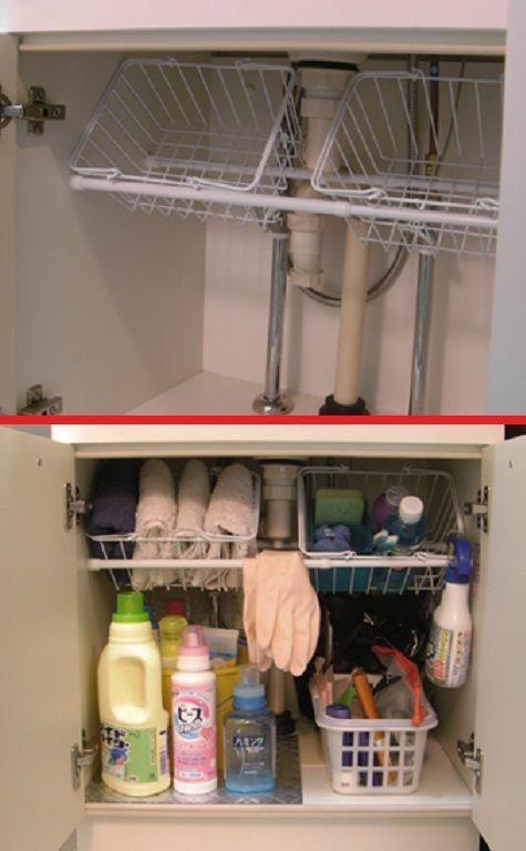 10 brilliant ways to use tension rods - under the sink to hold baskets for extra storage