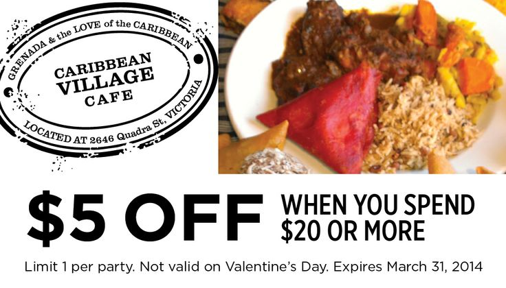 Caribbean Village Coupon for Victoria BC - $5 OFF when you spend $20 or more!