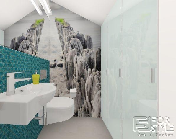łazienka mała, elegancka, nowoczesna dla gości, biała z turkusem, turkusowa mozaika, grafika na ścianie, czarno biała tapeta, fototapeta, design... Projektowanie wnętrz 4-style.pl