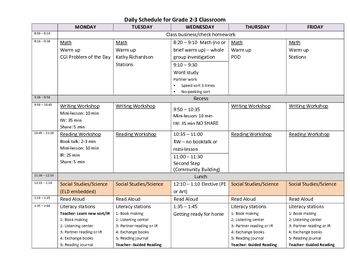 Balanced Literacy Daily Schedule