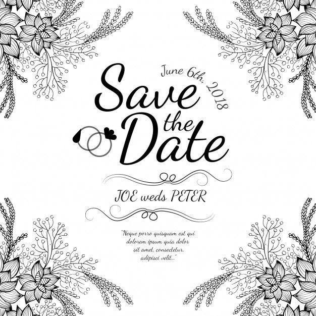 Cartão de Invitaion de casamento floral preto e branco desenhado a mão Vetor grátis