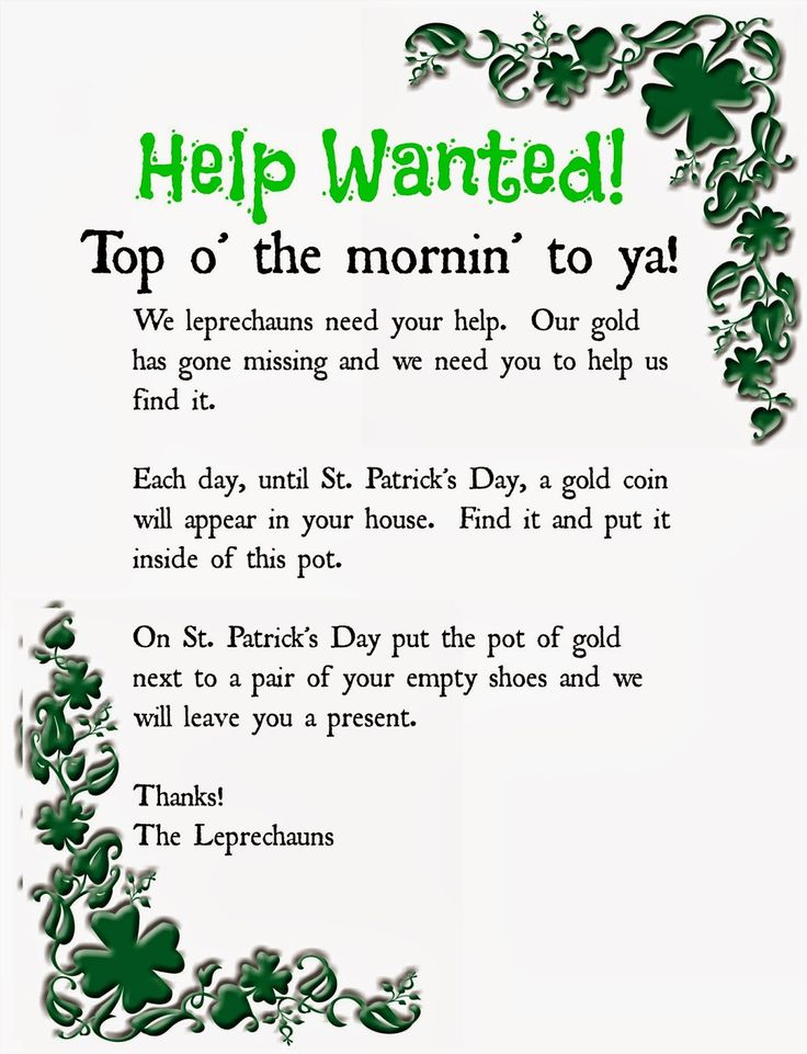 Leprechaun note printable. A fun way to get your kids excited for St. Patrick's Day.