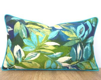 turquoise outdoor pillow cover tropical leaf green and teal cushion cover outside bench tropical outdoor cushion colorful lumbar pillow
