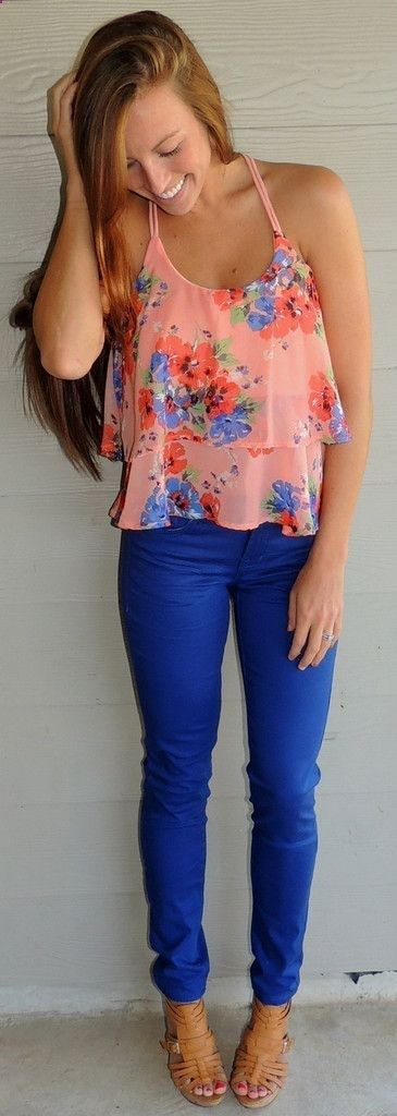 Summer thin strap top and blue pant