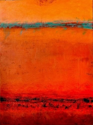 Red Desert Sunset by Peggy Hinaekian / Mixed Media on Canvas