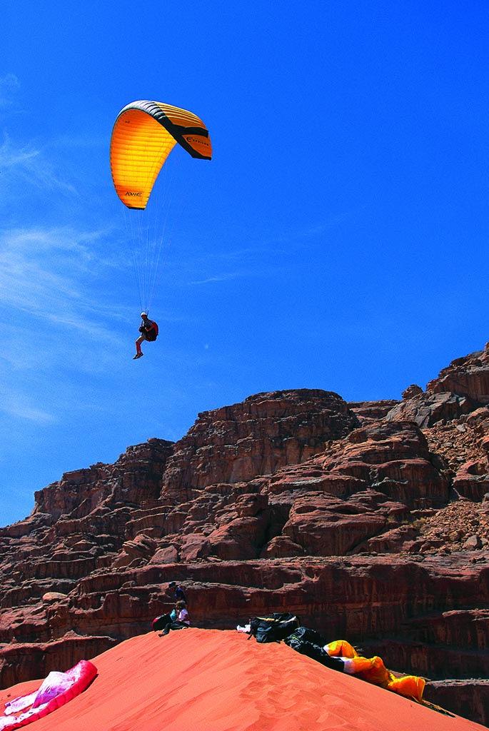 Parachuting in Wadi Rum