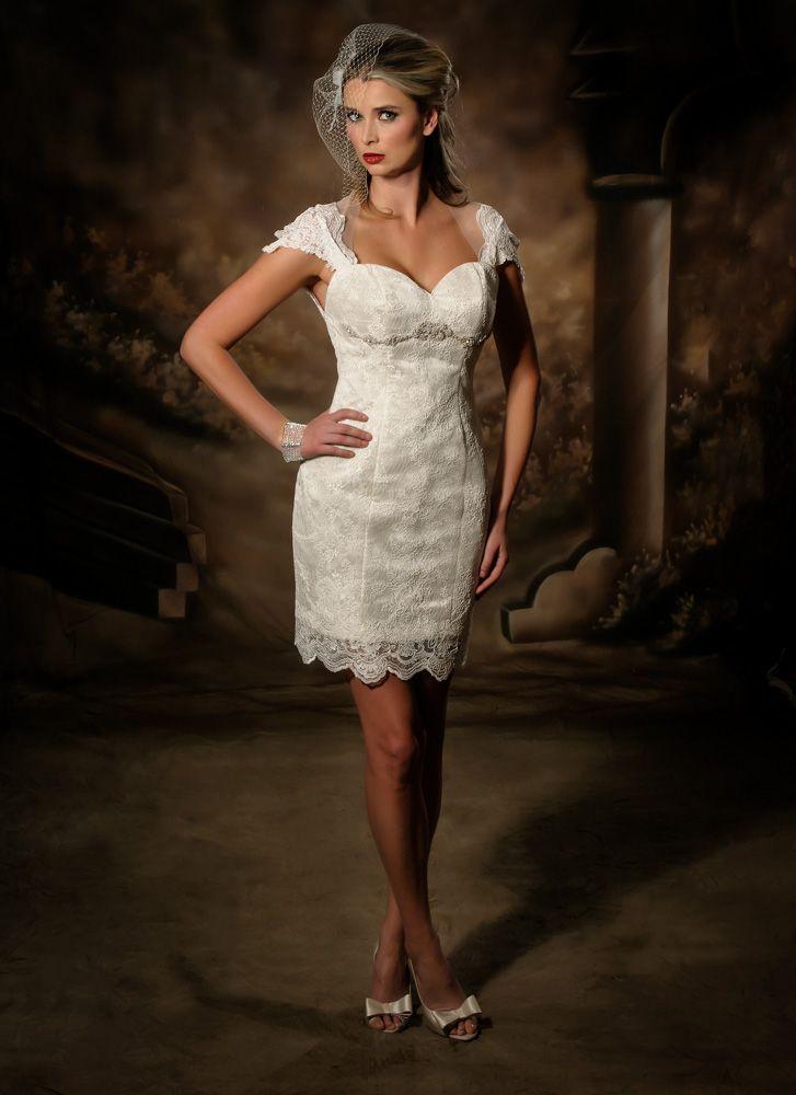 Short lace wedding dress.