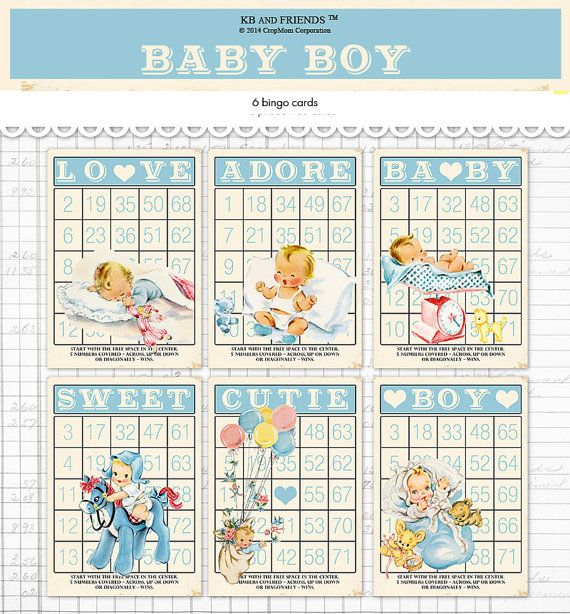 Digital vintage style baby boy bingo cards blue retro