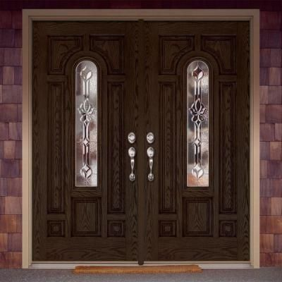 Feather River Doors 74 In X In Medina Zinc Center Arch Lite Stained Walnut Oak Right