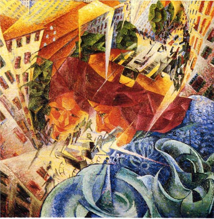 """Simultaneous Visions"". Umberto Boccioni was an influential Italian painter and sculptor. He helped shape the revolutionary aesthetic of the Futurism movement as one of its principal figures."