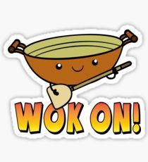 Wok On Funny Chinese Cooking Pun Sticker