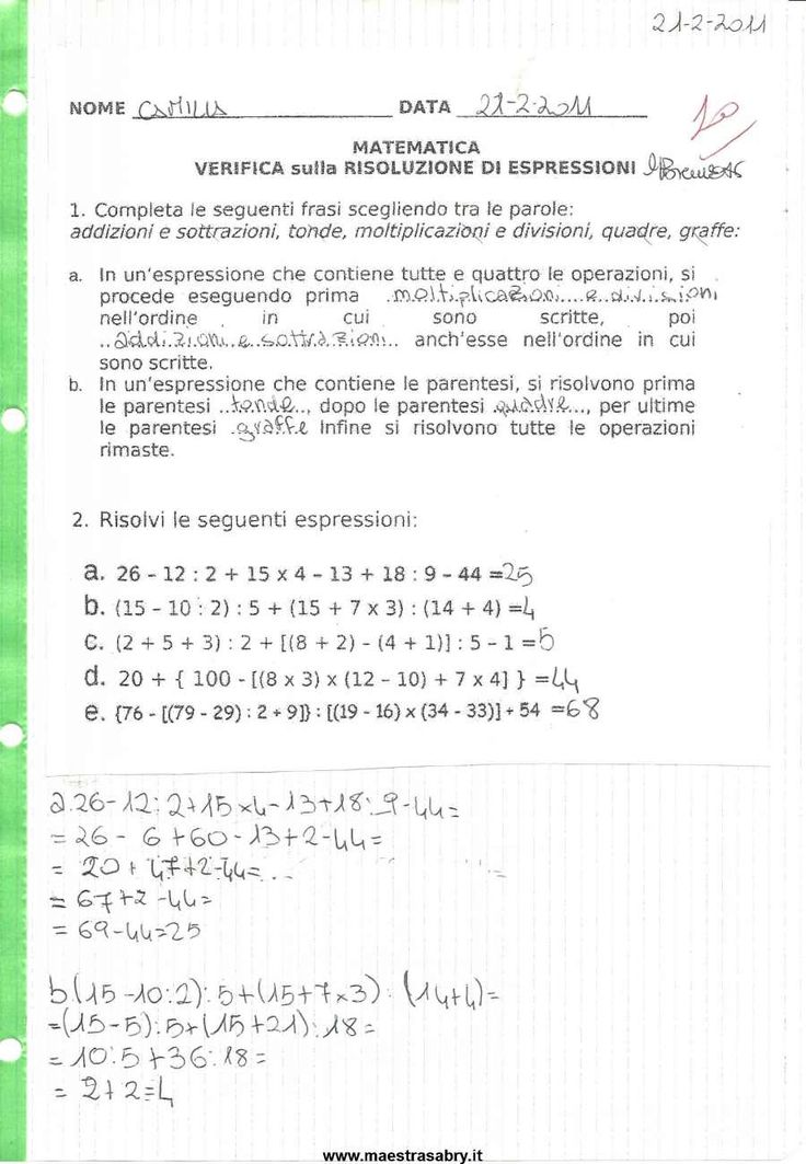 Quaderno delle verifiche di matematica classe quinta