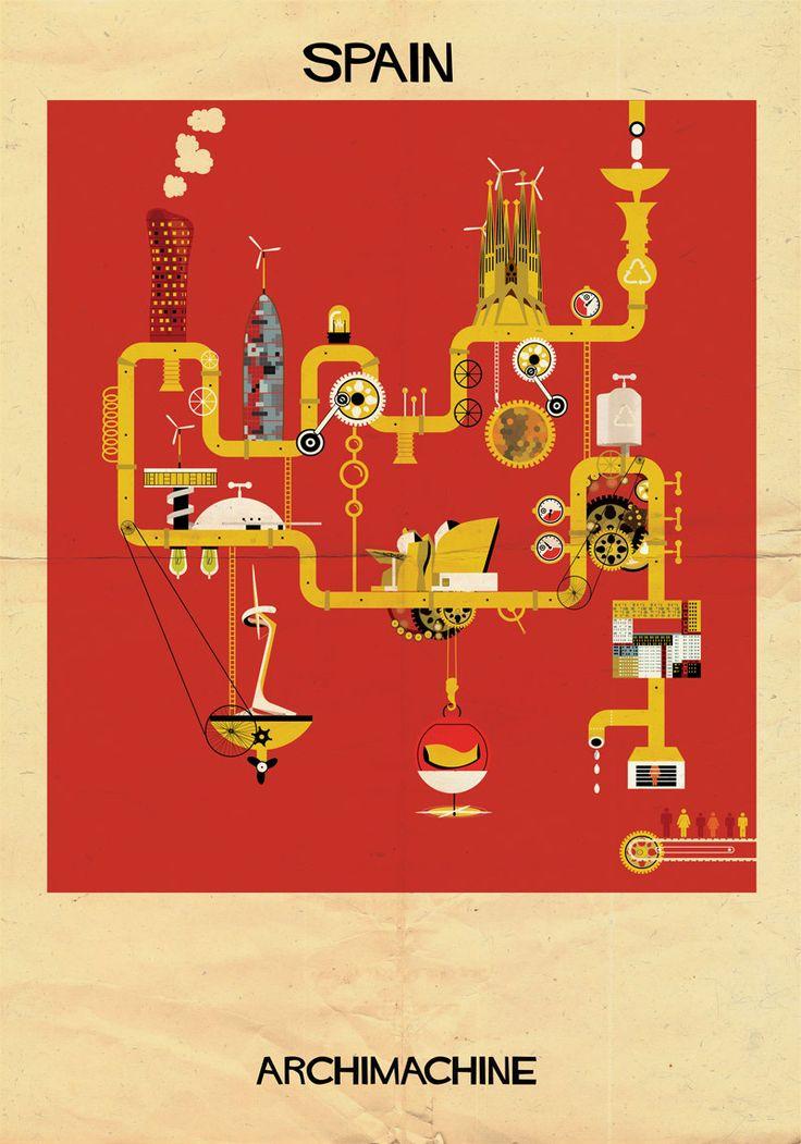 """Galeria - ARCHIMACHINE: 17 países ilustrados como """"máquinas arquitetônicas"""" - 21"""