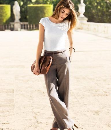 Smart casual. wide legged trousers + smart white tee