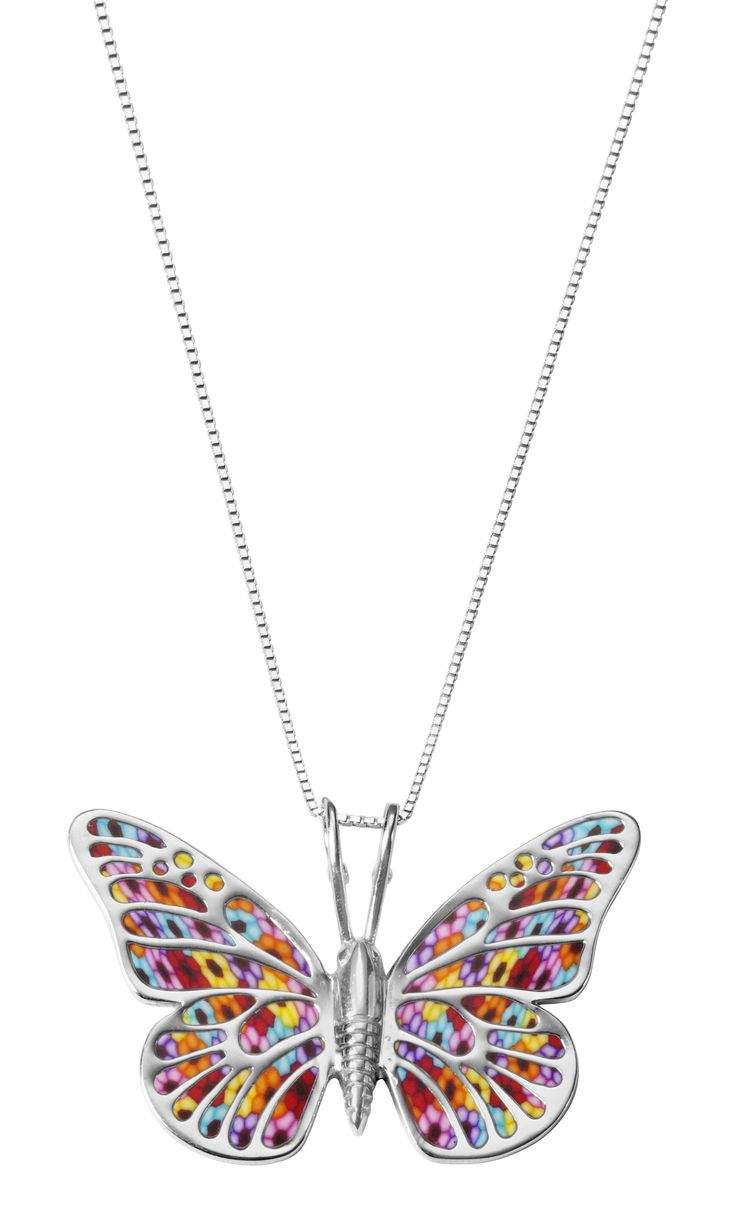 Millefiori butterfly necklace by Adina Plastelina.