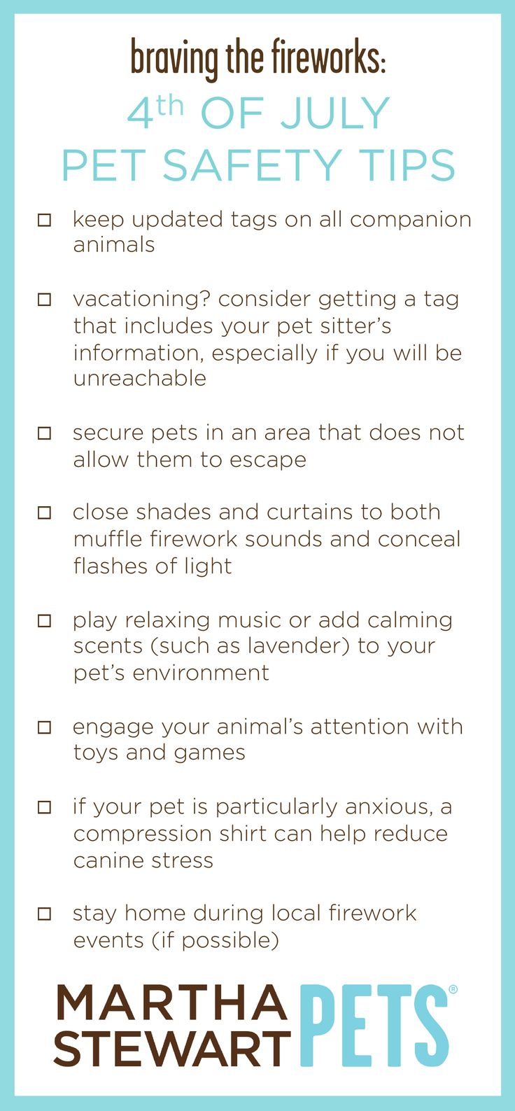 Given that canine hearing is far more sensitive than humans, exposure to fireworks is more than unpleasant. These simple tips can help prepare you and your pet for 4th of July festivities. Full article on @ms_living . #MarthaStewartPets #petcare #pettips