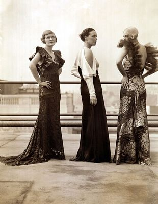 Daywear versus evening glamour...a more clear distinction made in the early 1930's. Set apart the rich from the poor.