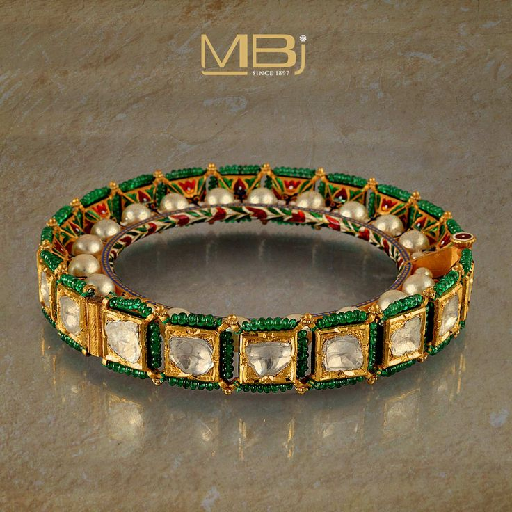 Polki bracelet with emeralds, pearls and enameling #MBj #Luxury #Desirable #Bridal #Traditional #JewelleryLove #Bracelet
