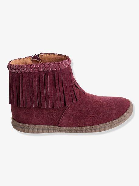 Boots frangées cuir fille - Bordeaux - 1