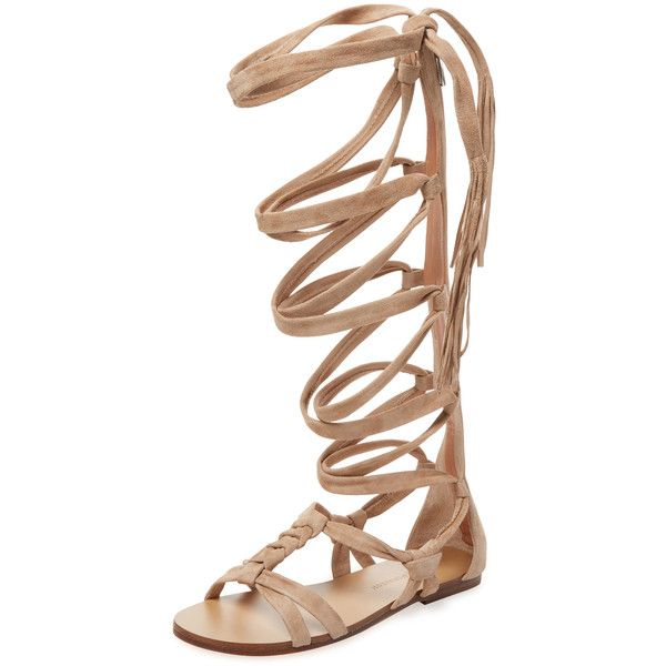 Sigerson Morrison Women's Boni Leather Gladiator Sandal - Cream/Tan ($299) ❤ liked on Polyvore featuring shoes, sandals, tan sandals, flat pumps, leather sandals, leather flats and lace up gladiator sandals