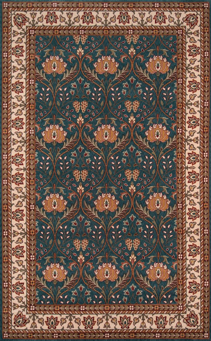 "Momeni Rugs PERGAPG-12TEB96D0 Persian Garden Collection, 100% New Zealand Wool Traditional Area Rug, 9'6"" x 13', Teal Blue"