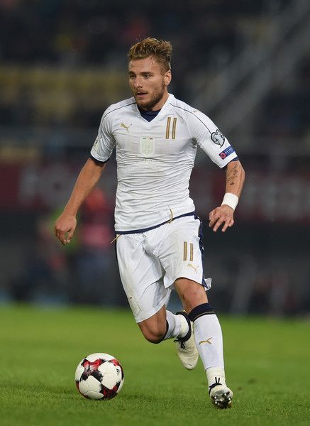 Ciro Immobile of Italy in action during the FIFA 2018 World Cup Qualifier between FYR Macedonia and Italy at Nacionalna Arena Filip II Makedonski on October 9, 2016 in Skopje, Macedonia.