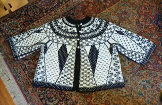 Double knitted jacket designed and made by M'lou Baber - the author of the book Double Knitting, Reversible Two Color Designs.
