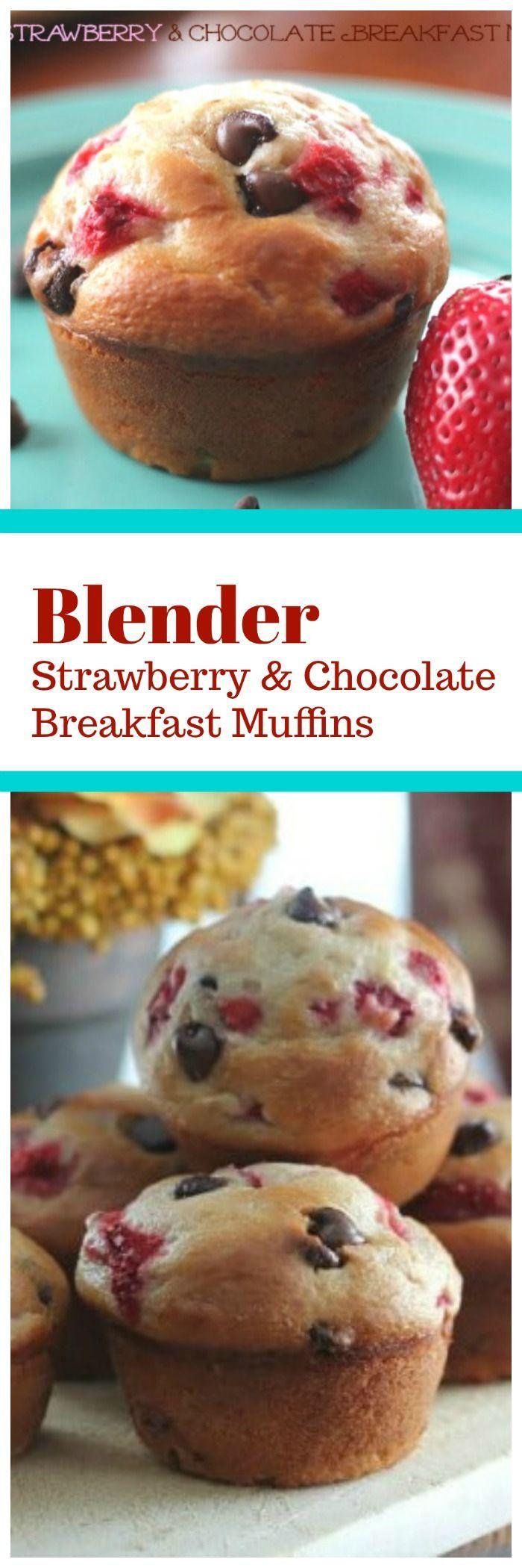 Blender Strawberry & Chocolate Breakfast Muffins {…