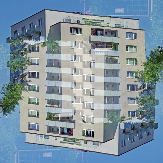 Urbane Landschaft, Beigesfarbenes Haus