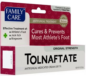 Family Care Tolnaftate Cream USP 1% 1oz  Clinically proven to effectively treat athlete's foot (tinea pedis), jock itch (tinea cruris), and ringworm (tinea corporis). Provides effective prevention of athlete's foot with daily use for effective relief of itching, burning, and cracking.  *Compare to the active ingredient of Tinactin