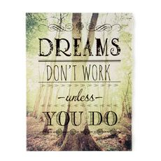 Dreams Don't Work Unless You Do Wall Canvas