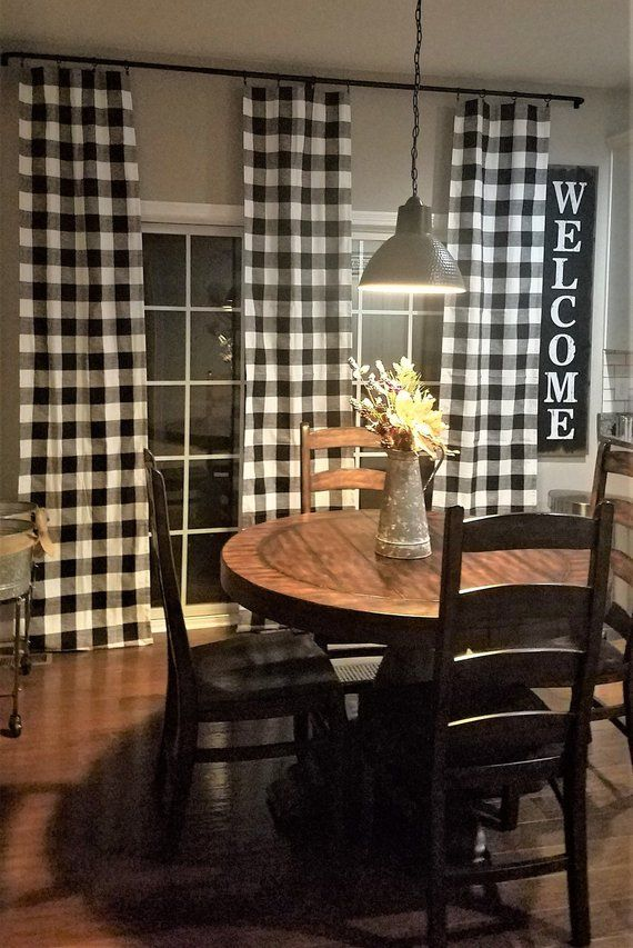 Black And White Buffalo Check Curtains Rod Pocket Options Etsy Farmhouse Style Dining Room Farm House Living Room Rustic Farmhouse Living Room