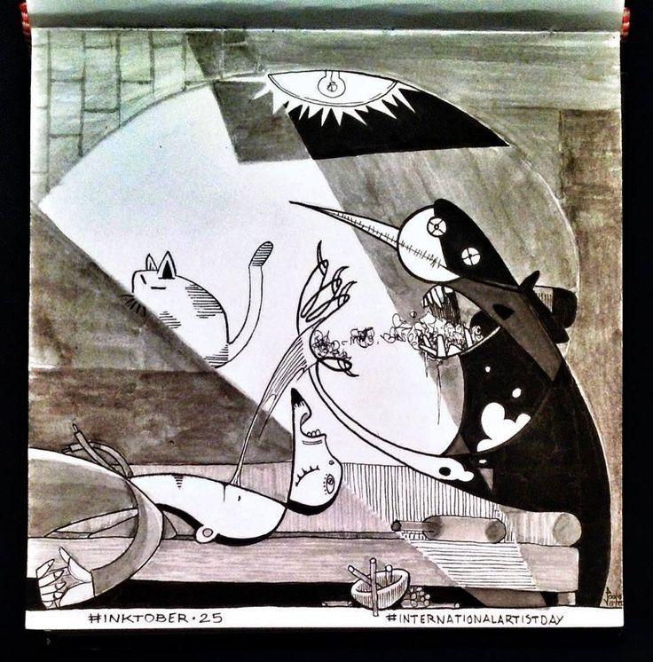 Paolo Voto - #internationalartistday - Pablo Picasso - illustration - #inktober #inktober2015 #inktobersonry #massoneriacreativa - www.massoneriacreativa.com