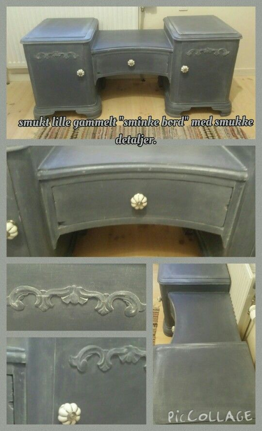 Chalk paint sminkebord, med dry brush detaljer