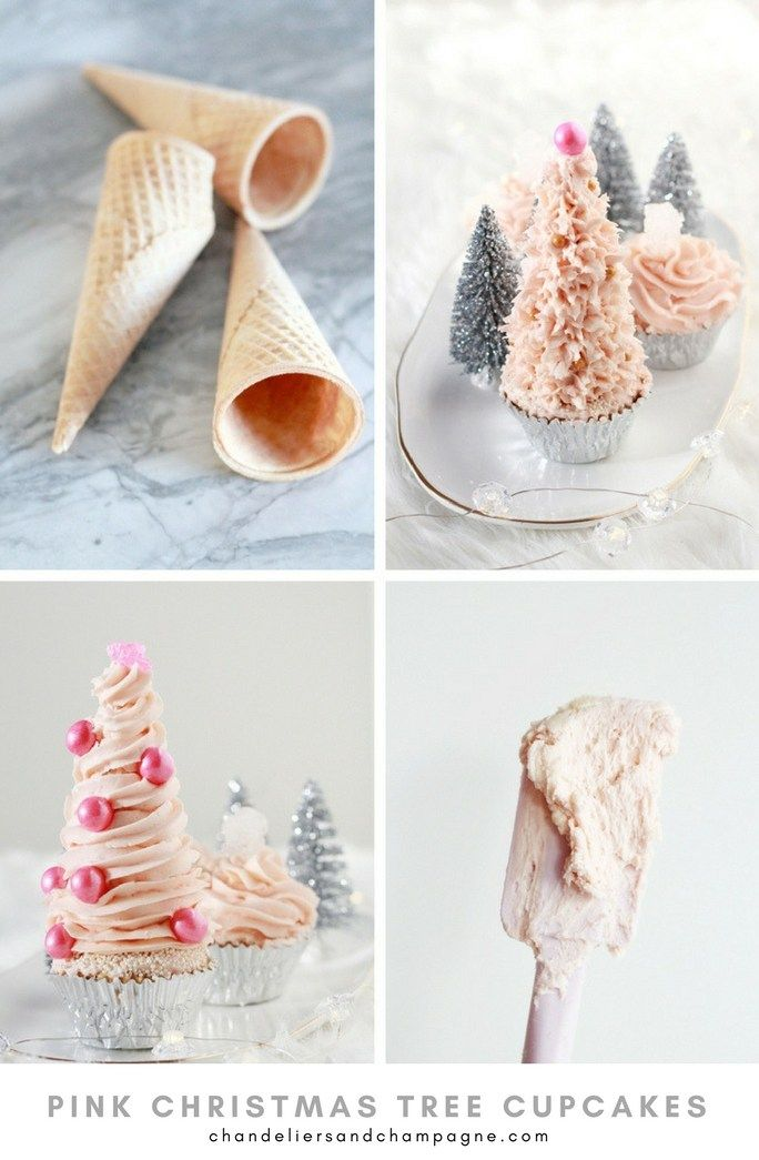 Pink Christmas tree cupcakes on Chandeliers and Champagne